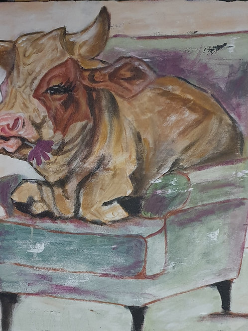 """""""Funky relaxing cow"""" 45 x 45cm"""
