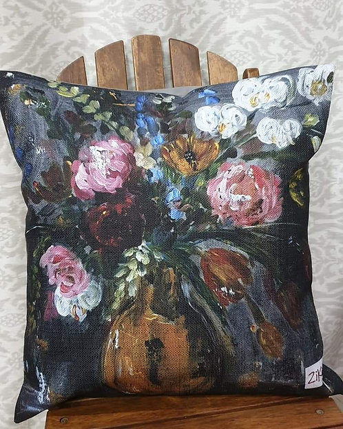 """Floral on dark art print cushion"""