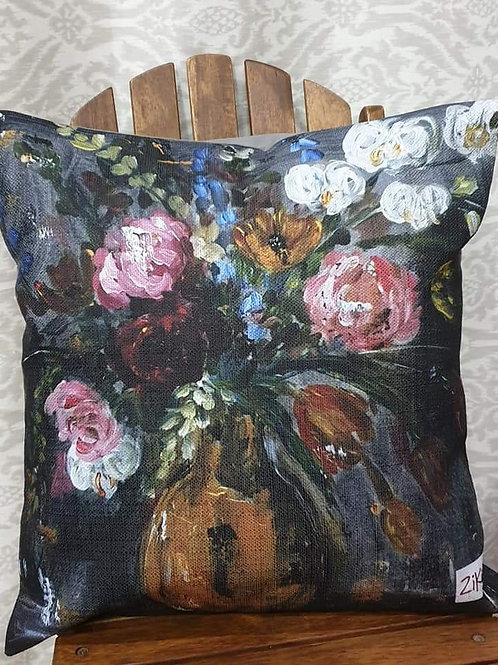 """Floral on dark art print cushion"""