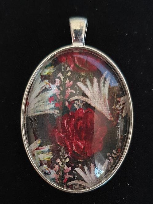 Floral on dark art by Zindi pendant