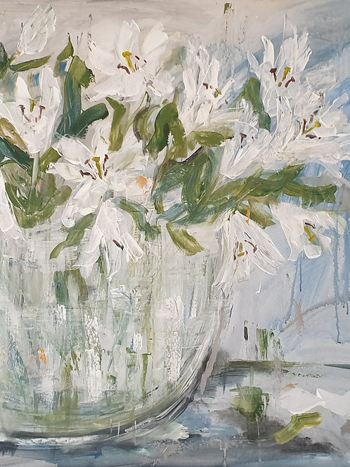 Large lillies in glass