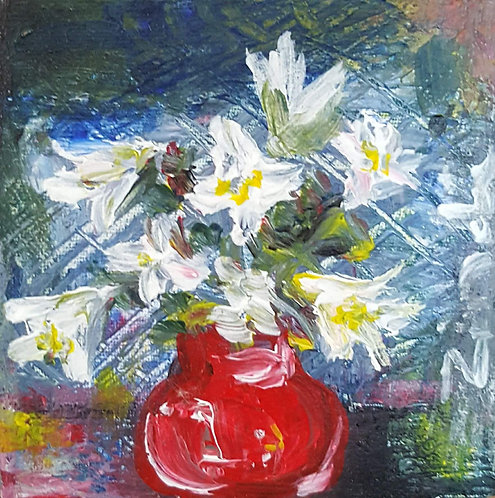 """Lillies in red pot"""