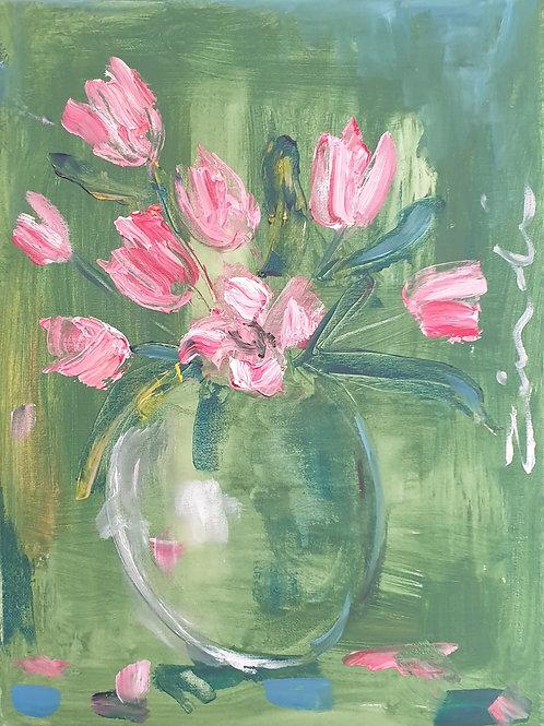 """Tulips on green"" 30 x 40cm"