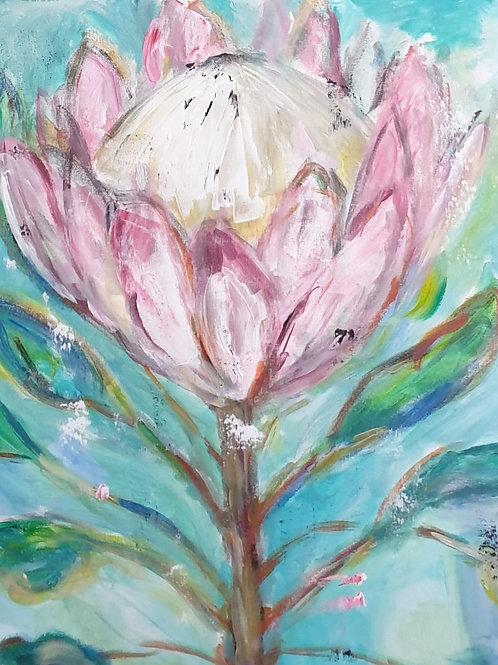 """""""Turquoise protea 3"""" 60 x 60cm"""