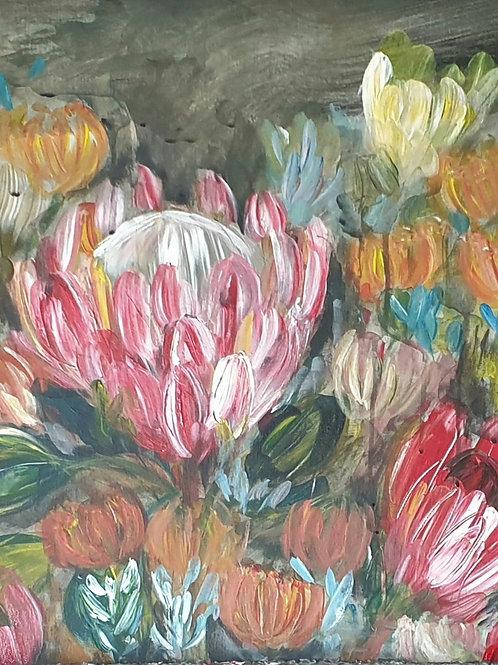 """""""Fynbos on dark"""" 150 x 50cm"""