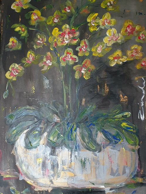 """Yellow orchid on dark"" 70 x 100cm"