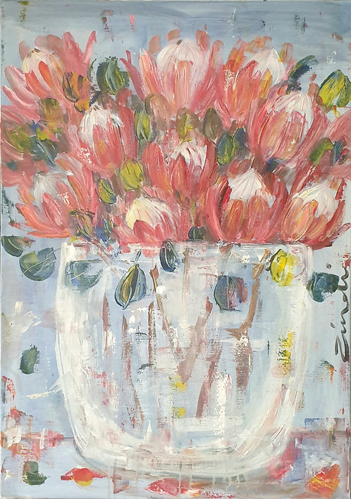 Pink protea bunch 1