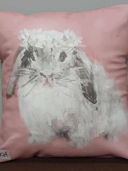 Pink down ear bunny art print cushion