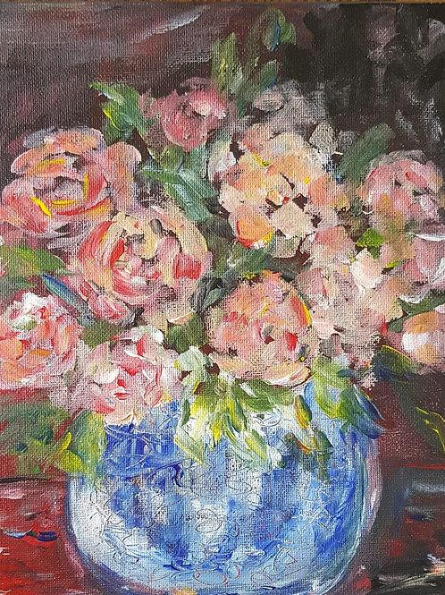 """""""Preach roses in blue pot"""""""