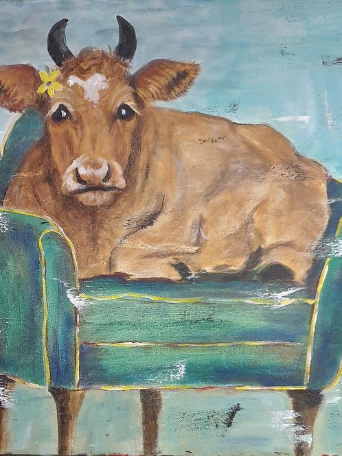 """""""Funky relaxing cow 2"""" 45 x 45cm"""