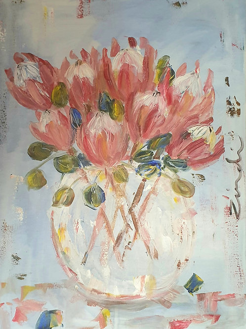 Pink protea bunch 2