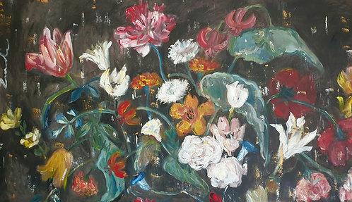 """Large Floral on dark"" 150 x 90cm"