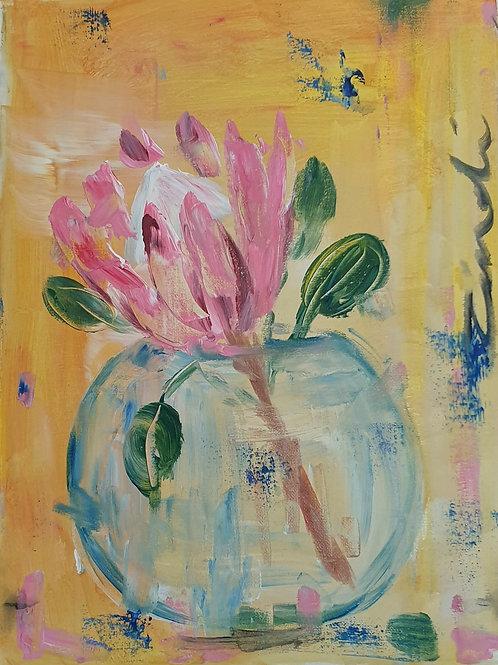 """""""Protea on orange"""" 30 x 40cm"""