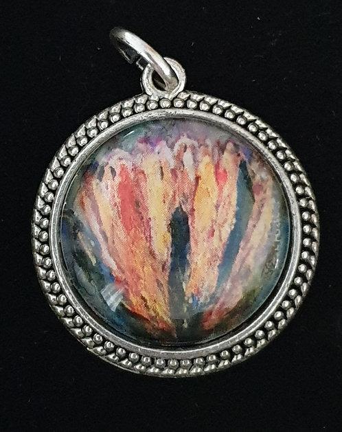 Yellow protea art by Zindi pendant