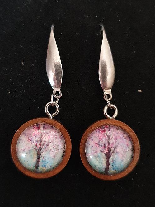 Blossom tree in wood art by Zindi earrings