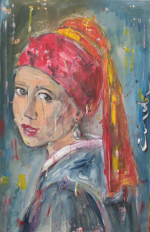 """The girl with the shiny earring"" 40 x 60cm"
