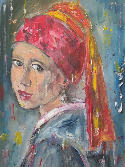 """""""The girl with the shiny earring"""" 40 x 60cm"""