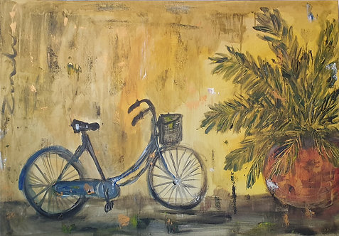 Bicycle on yellow