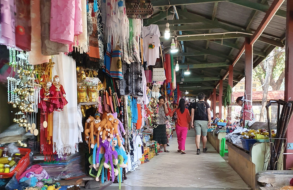 Tourist shops line up mount popas entrance