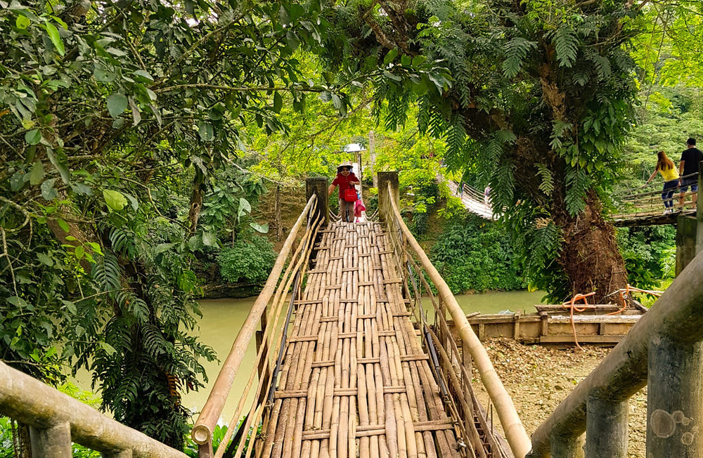 A bamboo made hanging bridge in Bohol