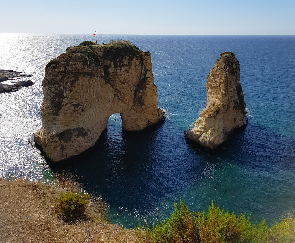 Pigeon rock in Raouche is one of Lebanons iconic natural landmarks