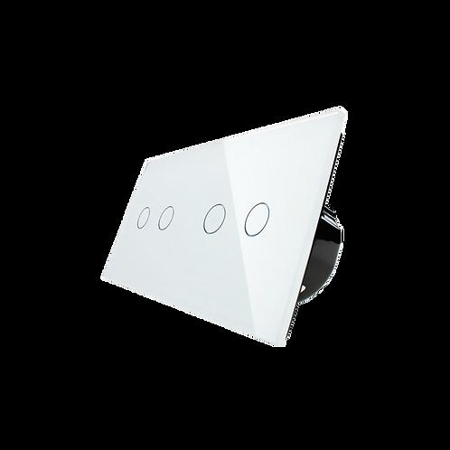 מפסק מגע נשלט RF ל-4נקודות תאורה תואם קופסא 4 מקום