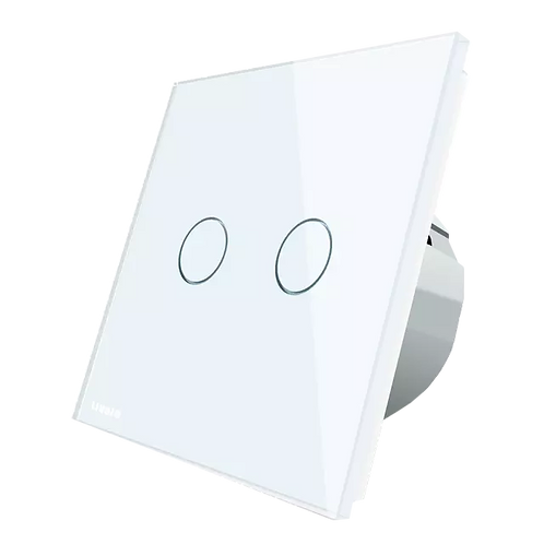 מתג מעוצב  מחליף שני לחצנים נשלט ומחליף + livolo איטלקי עבור קופסא 55 ממ מקום
