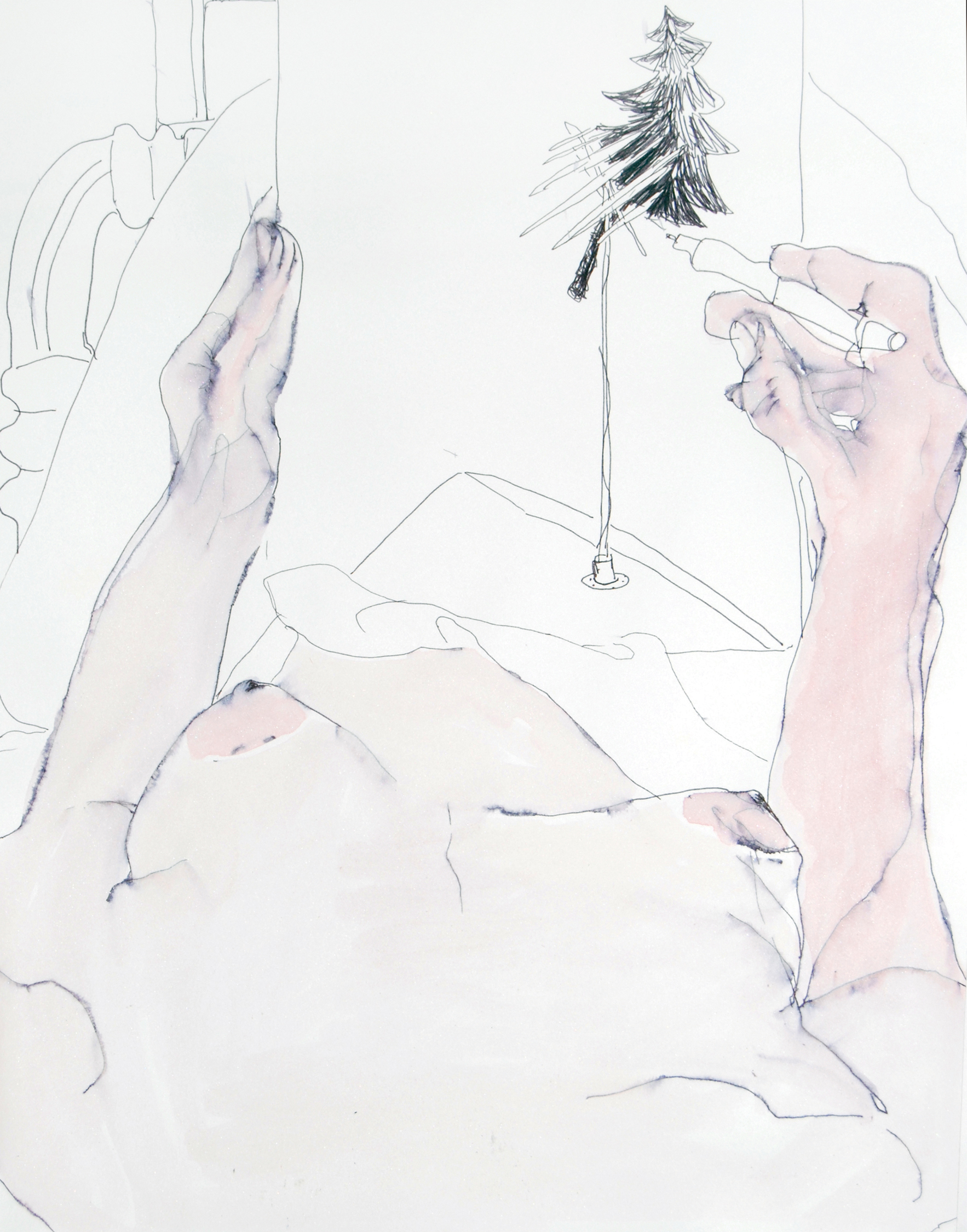 drawing in bed