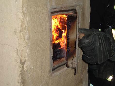 Schornsteinbrand in Pogum
