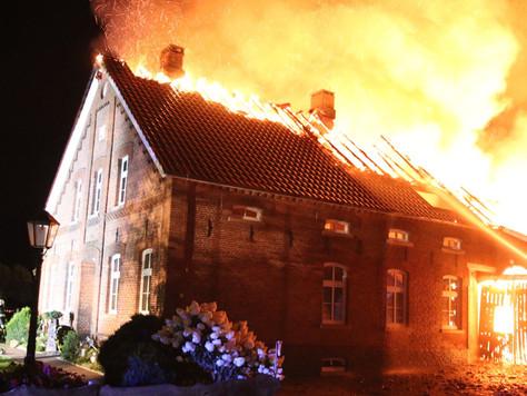 Feuer zerstört Gulfhof in Holtland - Rund 50 Tiere konnten nicht mehr gerettet werden