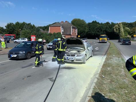Fahrzeugbrand auf der Spier Kreuzung