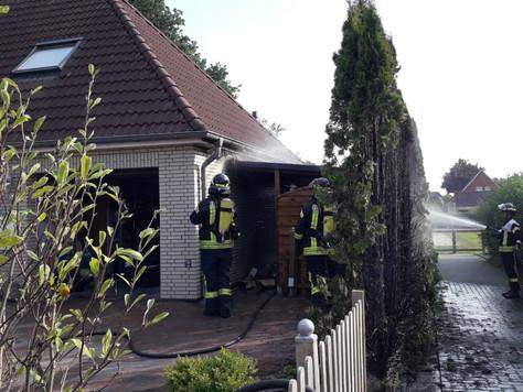 Unkraut abflammen verursachte Brand in Bunde