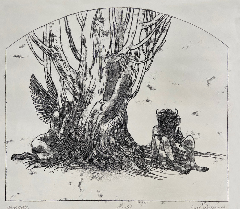 Divsalar-2020-18x24in-Monotype-پری نهفه رخ و دیو در کرشمه و ناز