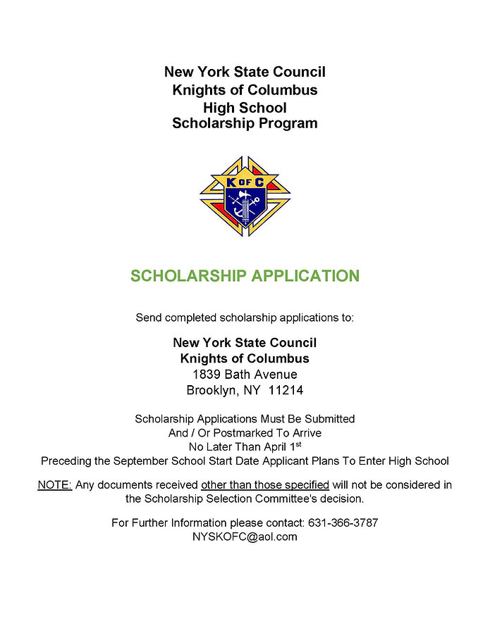 NYS KofC HS Scholarship Program    Appli