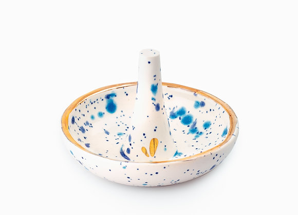 RING STAND PLATE | BLUE & LIGHT BLUE DOTS