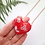Thumbnail: HEART NECKLACE - RED WITH WHITE FLOWERS