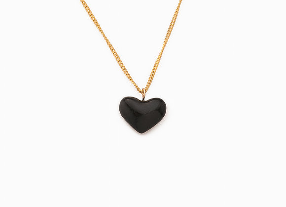SMALL BLACK HEART NECKLACE