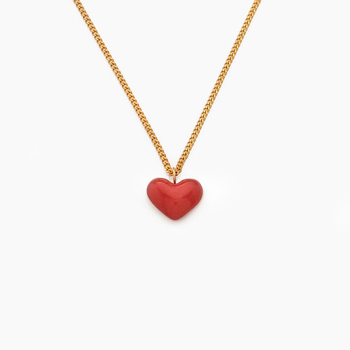SMALL MAROON HEART NECKLACE