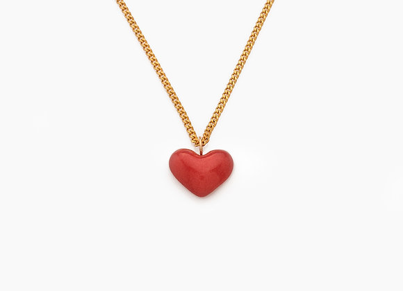 SMALL MAROON HEART NECKLACE