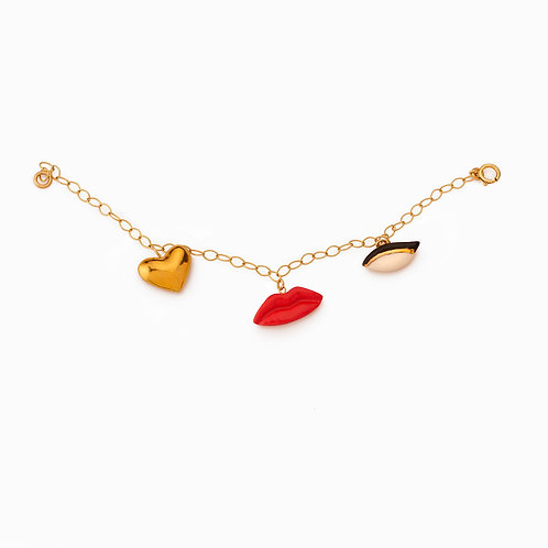 LIPS-GOLDEN HEART-EYE CHARM BRACELET