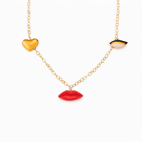 LIPS-GOLDEN HEART-EYE CHARM NECKLACE