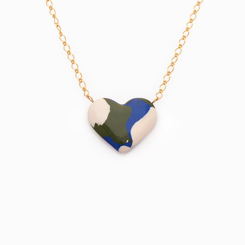 PLANET EARTH HEART NECKLACE