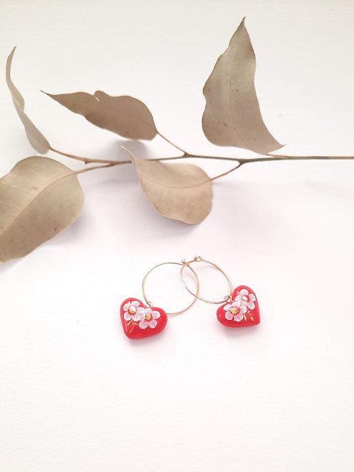 HOOP EARRINGS - RED HEART WITH WHITE FLOWERS