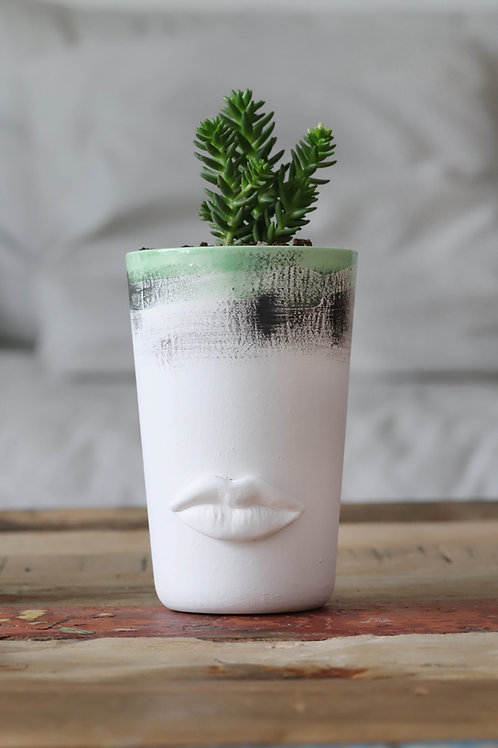 SMALL WHITE WITH GREEN & BLACK GLAZE CERAMIC FLOWERPOT WITH LIPS