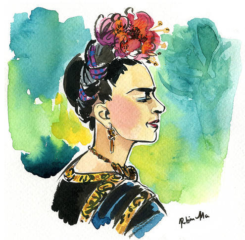 Frida Kahlo: Watercolor and ink on paper