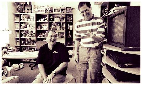 (imagem: Disney/reprodução)John Lasseter e Steve Jobs  na Pixar Animation Studios (1995)