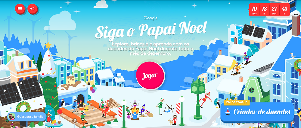 Follow Santa game on Google on startblog