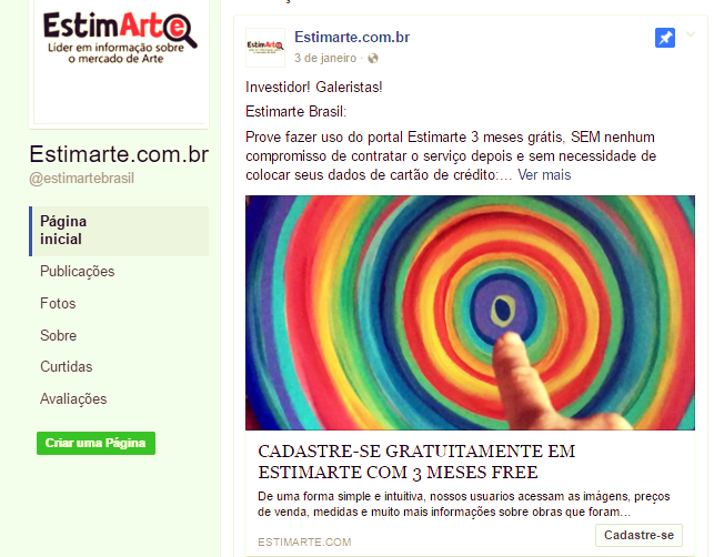 Disclosure image of the facebook page: @estimartebrasil