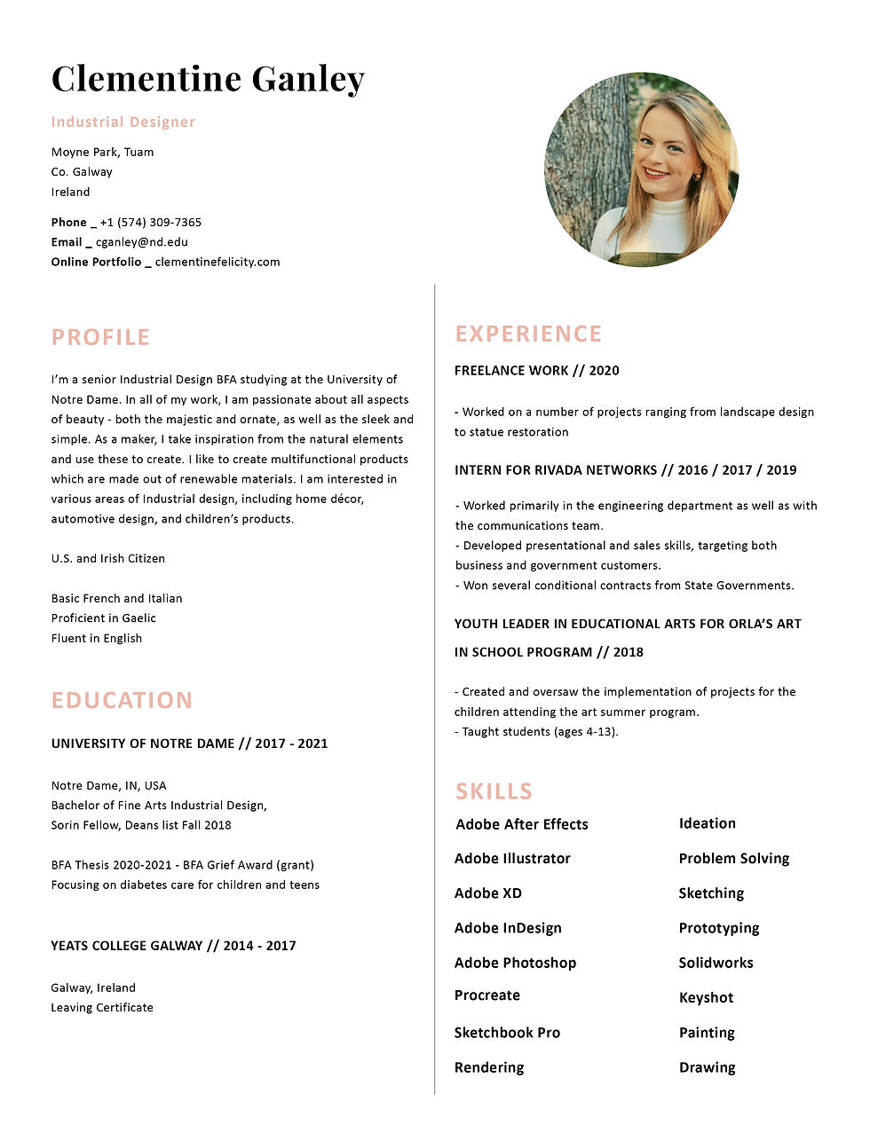 Clementine Ganley Resume 2020 with pic.j