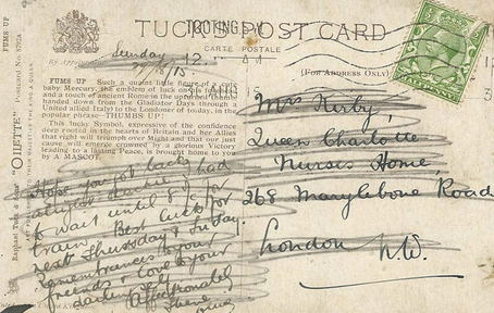 Back of Fums up postcard dated 1915
